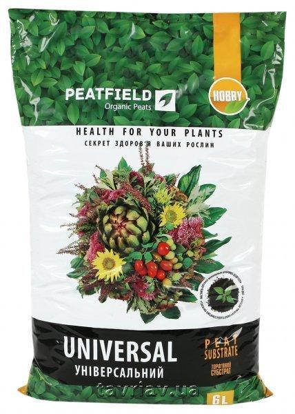 """Торфяной субстрат """"Универсальный"""" PEATFIELD, 6 л — выращивание рассады и цветов"""