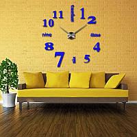 3D часы, настенные, большие, Зеркально-синего цвета \ Акриловые зеркальные декоративные наклейки