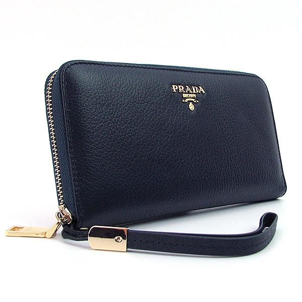 31f2771b645e кожаный кошелек Prada женский синий класический на молнии продажа