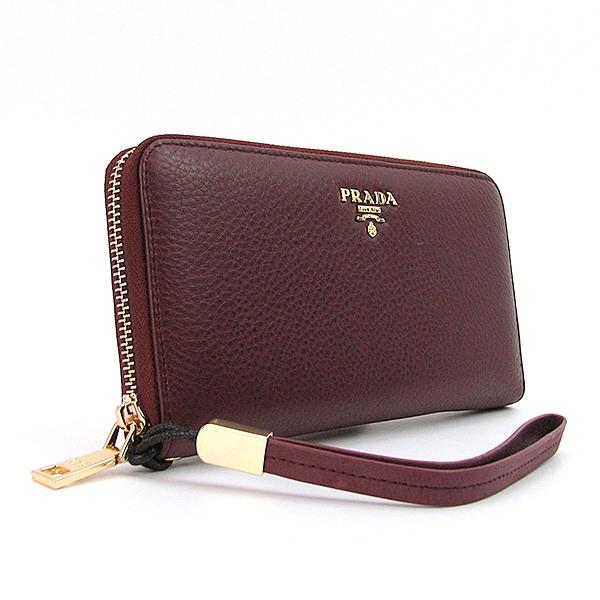 c195874e2e97 бордовый кошелек Prada женский кожаный класический на молнии