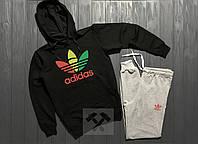 Спортивный костюм мужской с капюшоном (черная кофта худи и серые штаны) Adidas