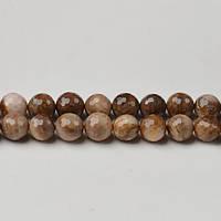 Американский Древесный  Агат, Натуральный камень, На нитях, бусины 8 мм,  Отверстие 1 мм, кол-во: 48 шт/нить