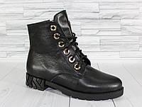 Зимние коротенькие ботинки.Кожа. 1262