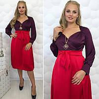 Платье верх на запах + отрезная юбка 166 батал (МАЛ)