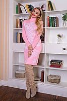 Модное теплое платье Снежинка розовый-белый
