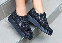Женские туфли-криперы на шнурках черного цвета