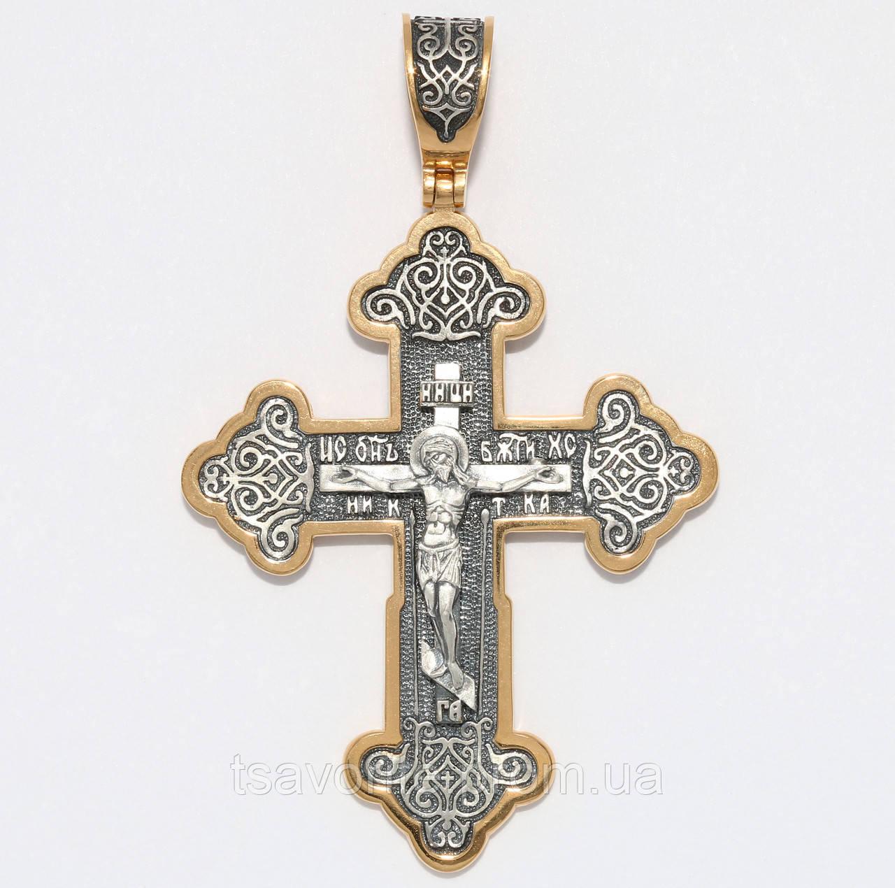 Серебряный позолоченный крестик ВКХ-102