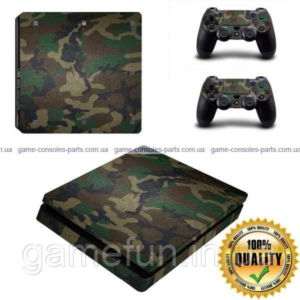 PS4 Slim вінілова наклейка камуфляж Premium