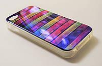Чехол на Айфон 4/4s Силикон перламутр Горизонтальные цветные полосы
