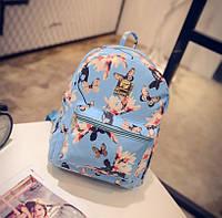 Женский маленький рюкзак экокожа Синий