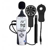 Мультифункционалный прибор SRE10 - 5 в 1: шумомер, анемометр, термометр, люксметр и датчик влажности воздуха.