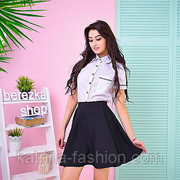 Женский костюм: рубашка и юбка-солнце (3 цвета)