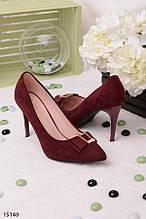 Женские бордовые- марсала классические туфли на шпильке с острым носком эко-замша