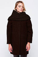 """Пальто """"Ирэн"""" с шарфом-трубой коричневое"""