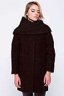 """Пальто зимнее """"Ирэн"""" с шарфом-трубой коричневое Пальто свингер, Слимтекс, 80.0, 60.0, Без капюшона, 2, Emass, L, Зима, Прорезные, Шерсть, Широкий"""