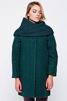 """Пальто зимнее """"Ирэн"""" с шарфом-трубой зеленое Пальто свингер, Слимтекс, 80.0, 60.0, Без капюшона, 2, Emass, L, Зима, Прорезные, Шерсть, Широкий"""