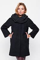"""Пальто зимнее """"Ирэн"""" с шарфом-трубой черное Слимтекс, 80.0, 60.0, Без капюшона, 2, Emass, Зима, Прорезные, Шерсть, Широкий, XL"""