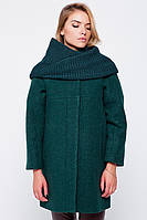 """Пальто """"Ирэн"""" с шарфом-трубой зеленое Пальто свингер, 80.0, 60.0, Без капюшона, 2, Emass, Украина, Прорезные, Шерсть, Широкий, S"""