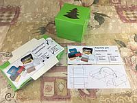 Коробка для 1-ого кекса / 100х100х90 мм / печать-Салат / окно-Елка / НГ, фото 1