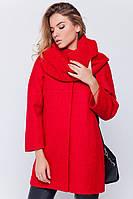"""Пальто букле """"Ирэн"""" с шарфом красное"""