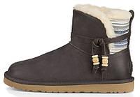 Женские зимние кожаные сапоги UGG Australia Auburn Serape Boot Charcoal (Угги УГГ Австралия) с мехом