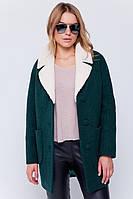 """Пальто с мехом """"Грейс"""" зеленое"""
