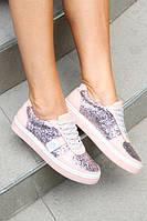 Женские кожаные туфли-криперы розовый цвет с цветом пудры