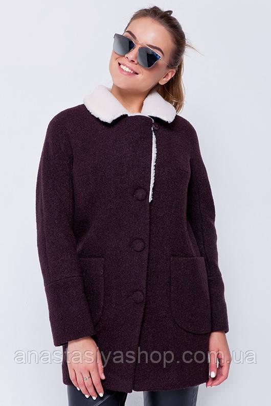 """Пальто с мехом """"Грейс"""" коричневое L"""