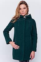 Пальто с капюшоном «Сюзи» зеленое Однобортное, 85.0, 64.0, Пуговицы, Вшитый, 2, Полиэстер, Мех, Отложной, Накладные, XS