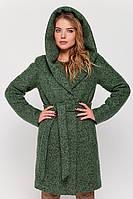"""Зимнее пальто с капюшоном """"Клер"""" зеленое"""