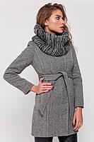 Утепленное пальто с шарфом «Сандра» серое