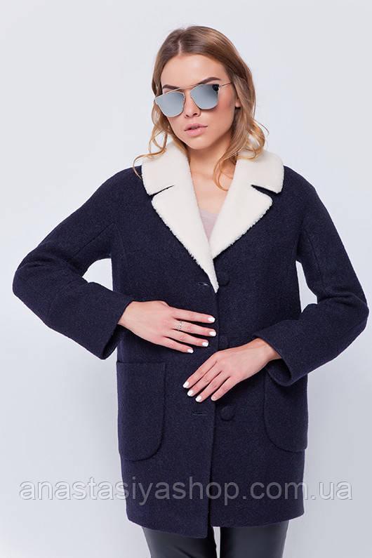 """Утепленное пальто с мехом """"Грейс"""" синее S"""