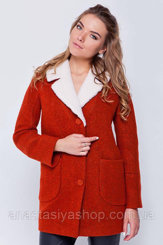 """Утепленное пальто с мехом """"Грейс"""" терракот XL"""