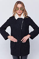 """Утепленное пальто с мехом """"Грейс"""" черное, фото 1"""