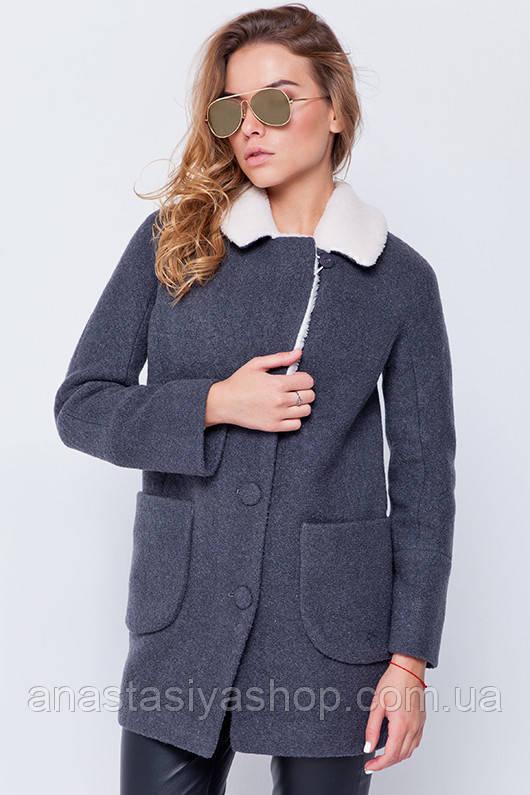 """Утепленное пальто с мехом """"Грейс"""" серое L"""
