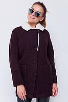 """Утепленное пальто с мехом """"Грейс"""" коричневое"""