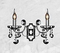 Серебряная хрустальная бра на 2 свечи