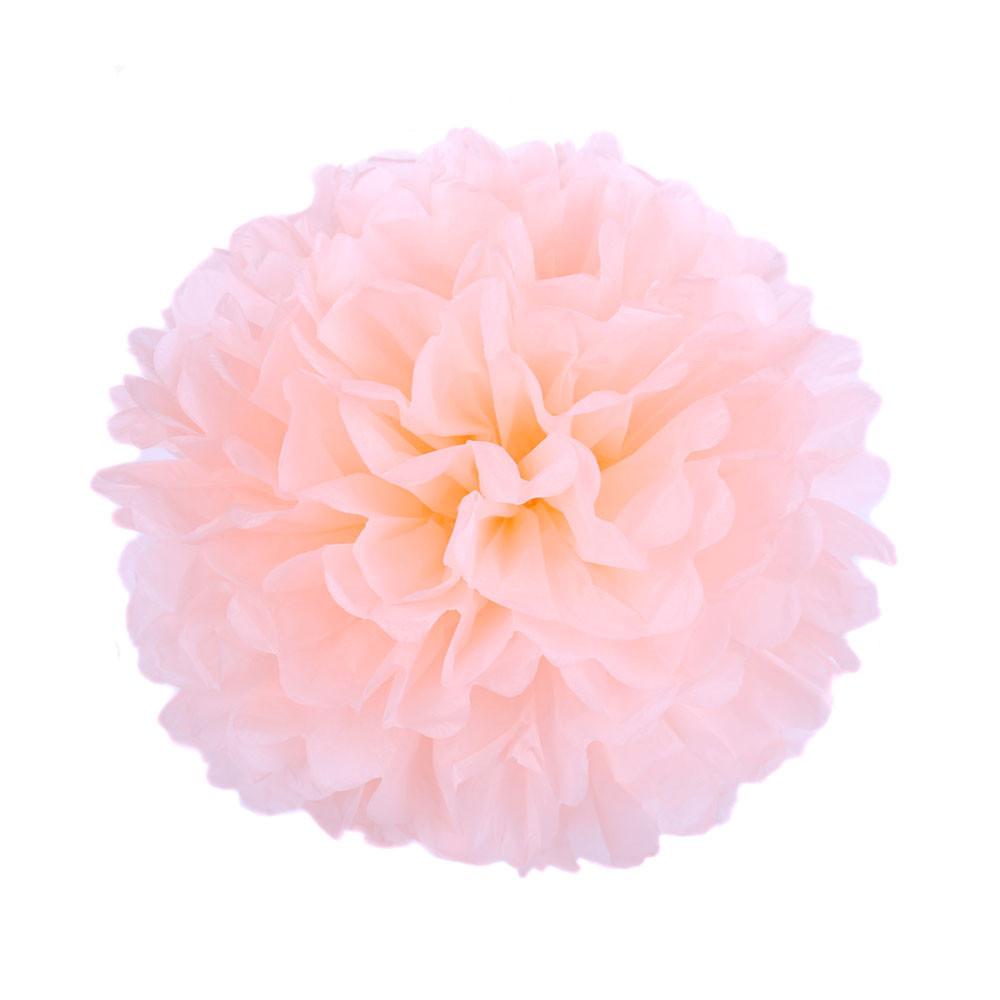Помпон из бумаги 15 см. персиковый
