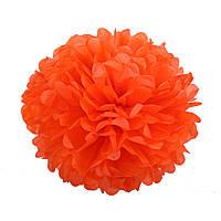 Помпон из бумаги 15 см. оранжевый