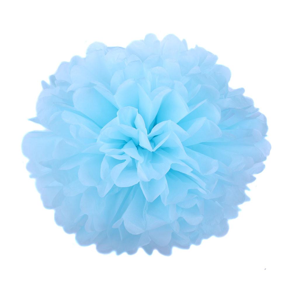 Помпон из бумаги 15 см. нежно-голубой