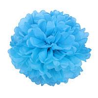 Помпон из бумаги 15 см. голубой