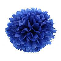 Помпон из бумаги 15 см. синий