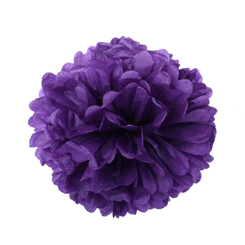 Помпон из бумаги 15 см. фиолетовый