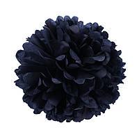 Помпон из бумаги 15 см. черный