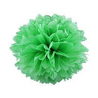 Помпон из бумаги 20 см. зеленый