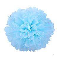 Помпон из бумаги 20 см. нежно-голубой