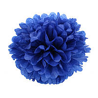 Помпон из бумаги 20 см. синий