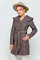 """Осеннее пальто с капюшоном """"Карен"""" коричневое 46"""