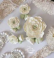 """""""Жемчуг"""" (серьги+заколка+кулон) Свадебный комплект украшений для невесты"""