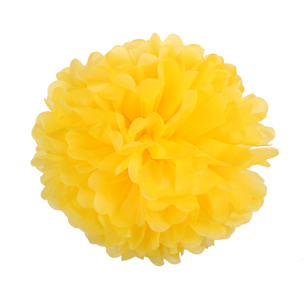 Помпон из бумаги 7 см. ярко-желтый